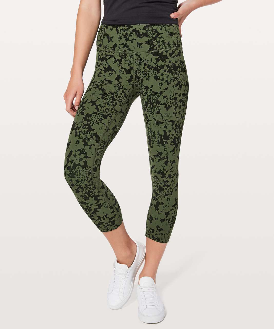 "Lululemon Align Crop *21"" - Efflorescent Barracks Green Black"
