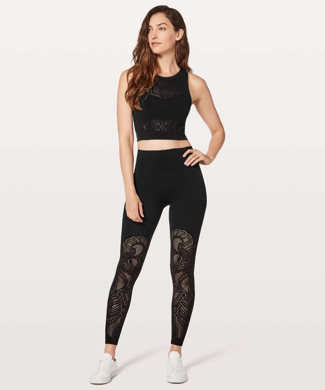 "Lululemon Reveal Tight *Lattice Paisley 28"" - Black"