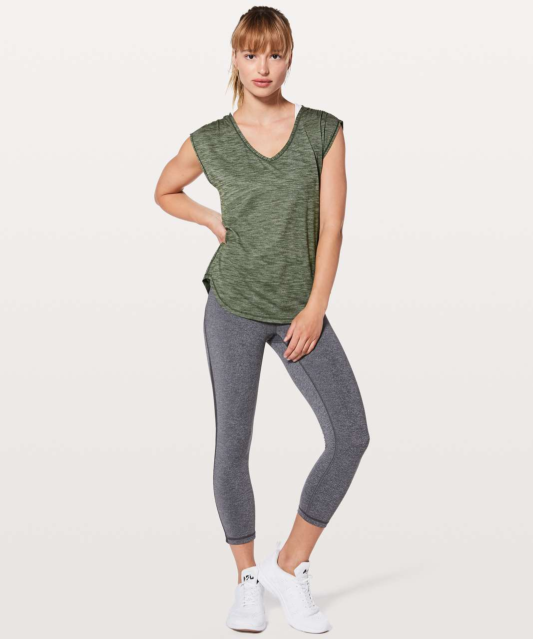 Lululemon Sweat Times Short Sleeve - Heathered Barracks Green