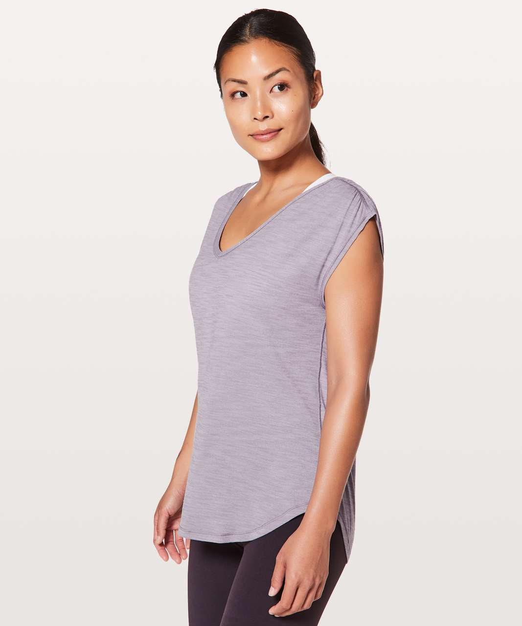 Lululemon Sweat Times Short Sleeve - Heathered Dusty Dawn