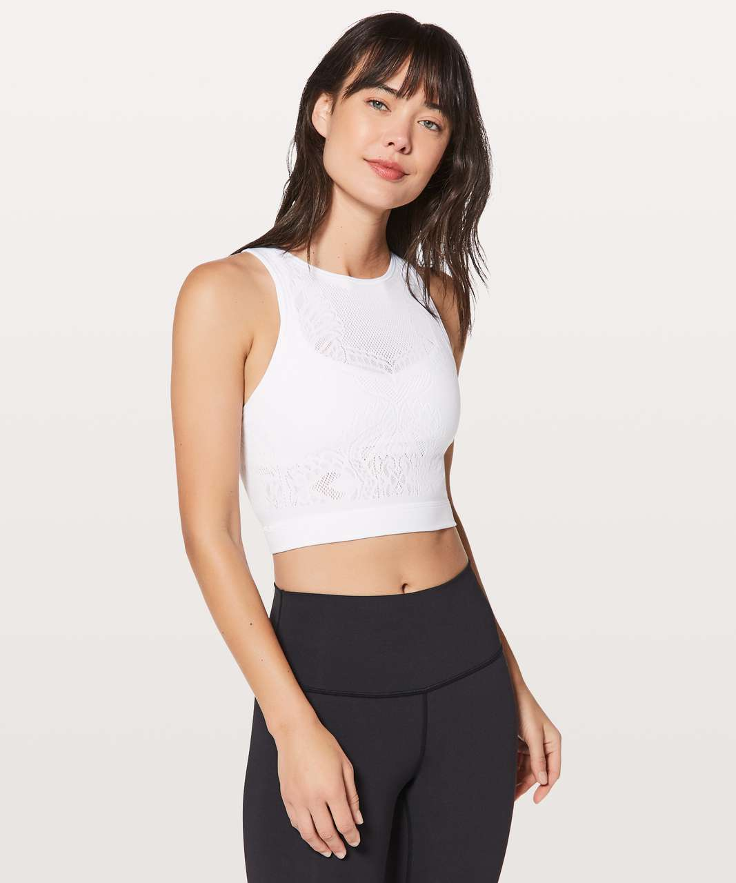 Lululemon Reveal Crop Top *Lattice Paisley - White