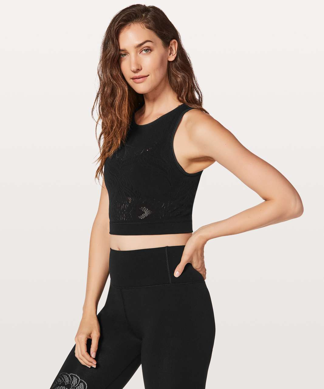 Lululemon Reveal Crop Top *Lattice Paisley - Black