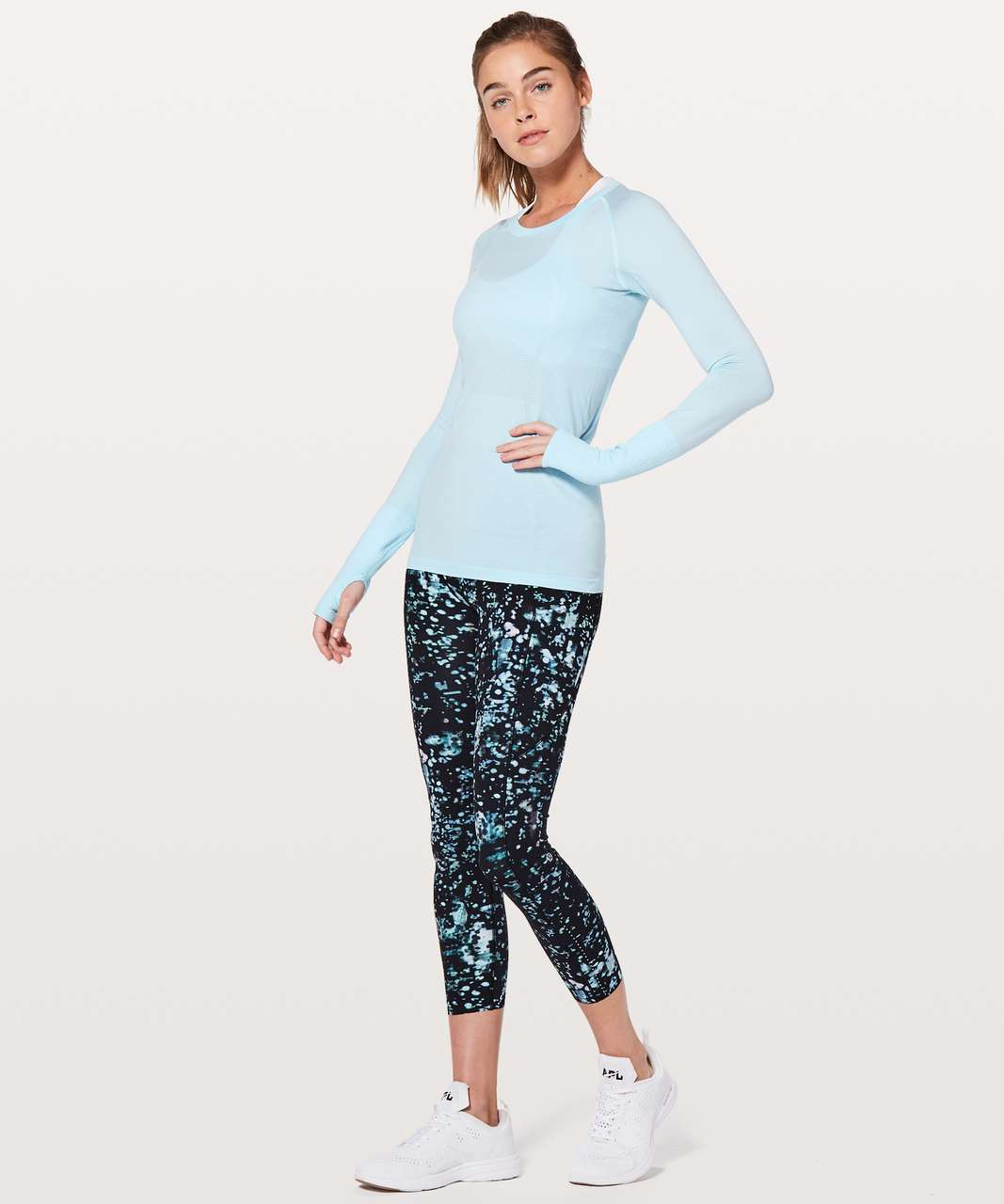 Lululemon Swiftly Tech Long Sleeve Crew - Blue Glow / White