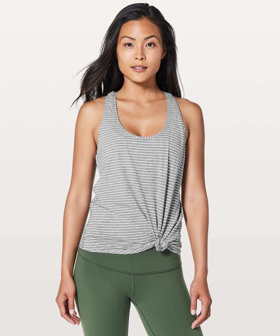 Lululemon Love Tank II - Modern Stripe Heathered Medium Grey White