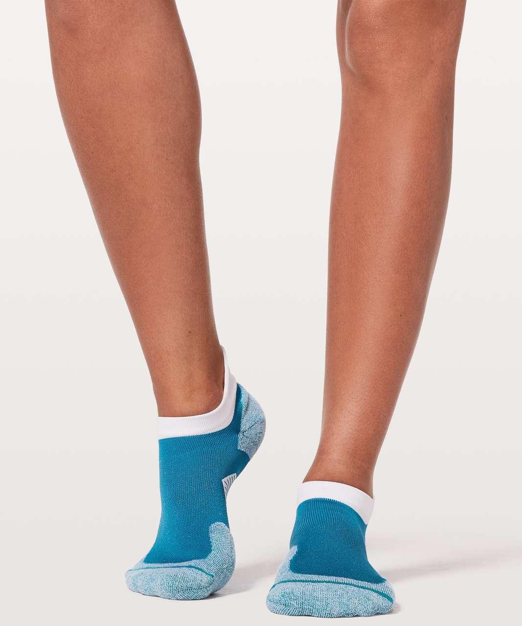 Lululemon Speed Sock *Silver - Teal Blue / White