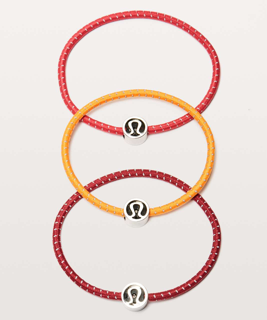 Lululemon Glow On Hair Ties - Vivid Amber / Ruby Red / Fuchsia Pink