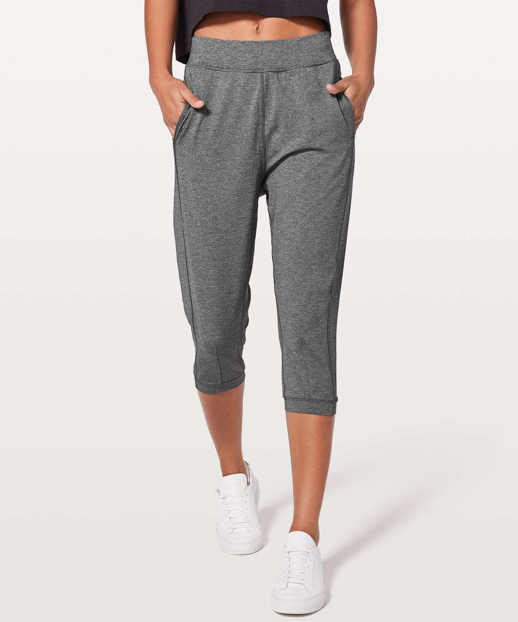 "Lululemon Rejuvenate Crop *18"" - Heathered Black"