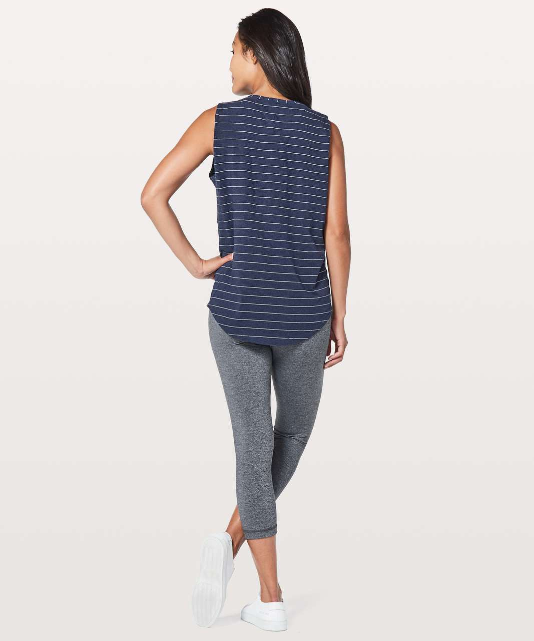 Lululemon Brunswick Muscle Tank - Short Serve Stripe Heathered Hero Blue White