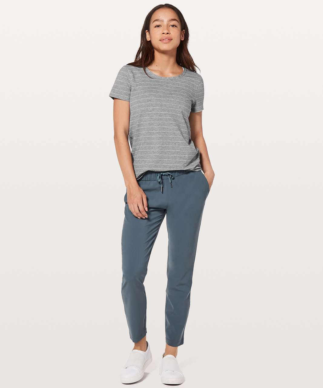 Lululemon Love Crew III - Short Serve Stripe Heathered Medium Grey White