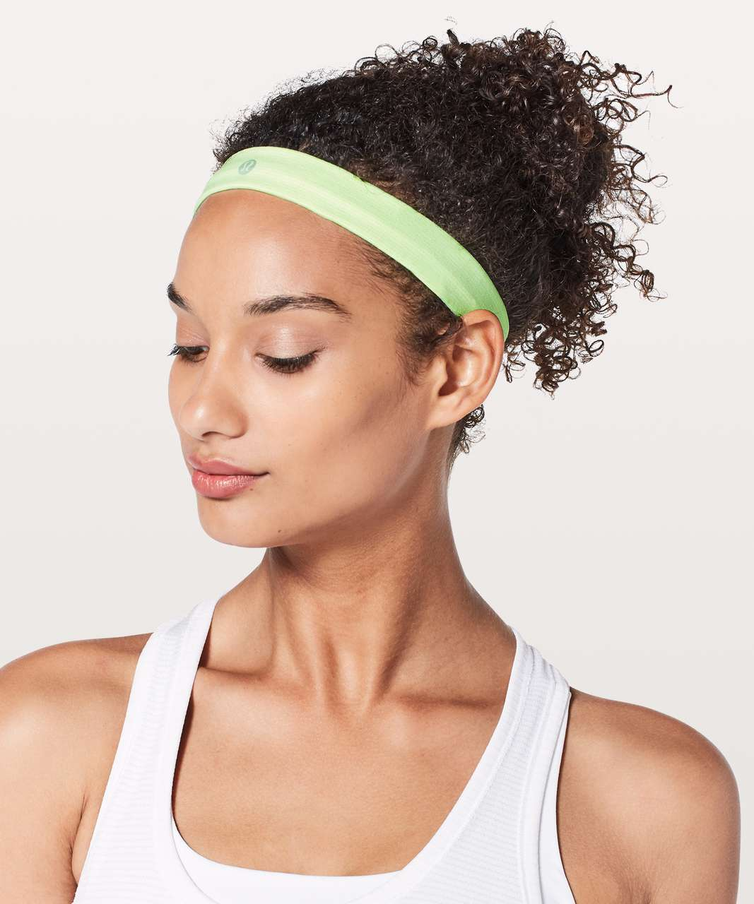 Lululemon Cardio Cross Trainer Headband - Fluro Citrus / White