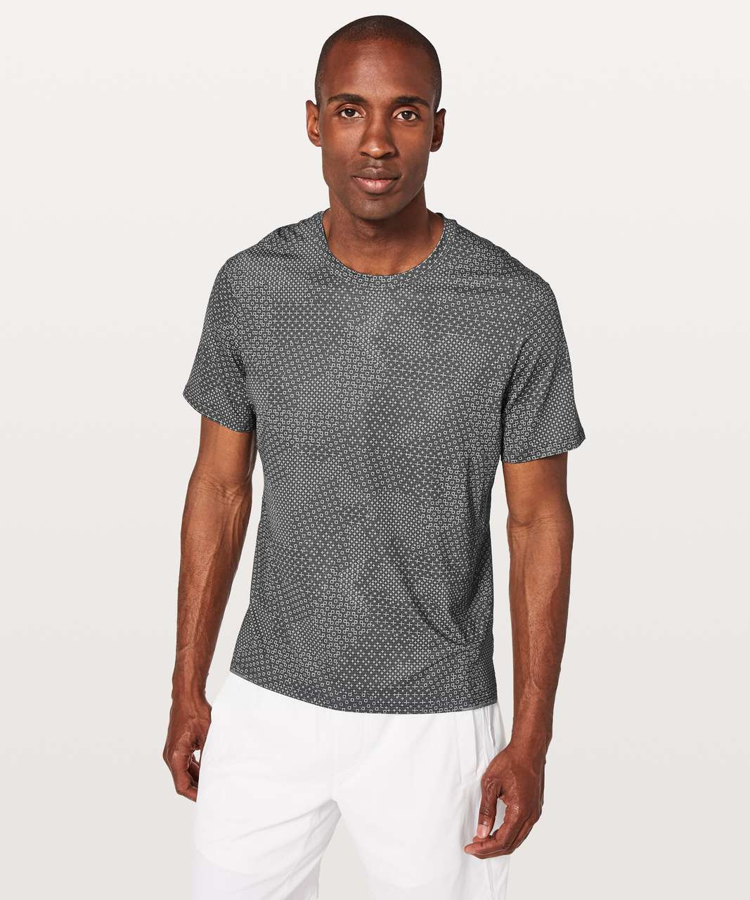 Lululemon Run Out Short Sleeve - Stitch Camo Ice Grey Deep Coal