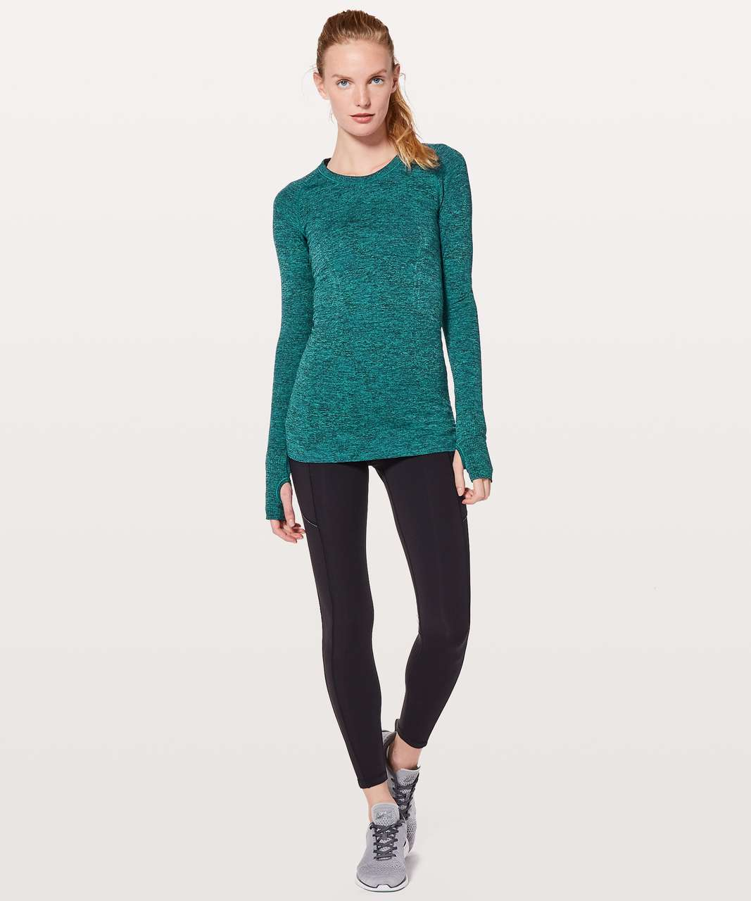 Lululemon Swiftly Tech Long Sleeve Crew - Teal Blue / Black