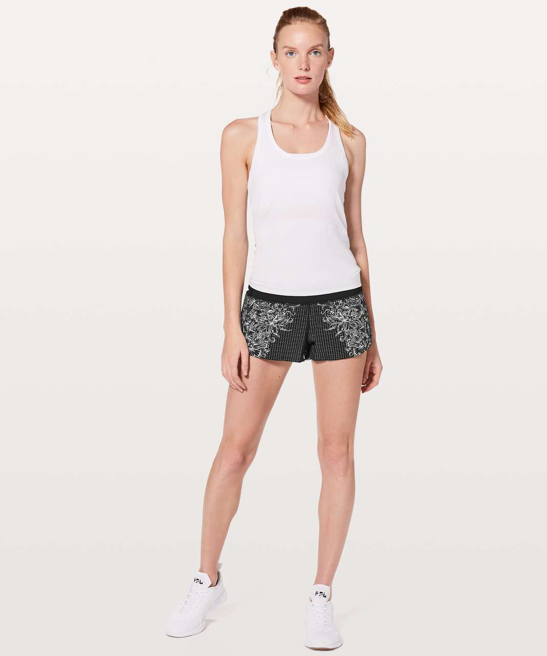 "Lululemon Speed Up Short *2.5"" - Infinity Speed Up Short Alpine White Black / Black"