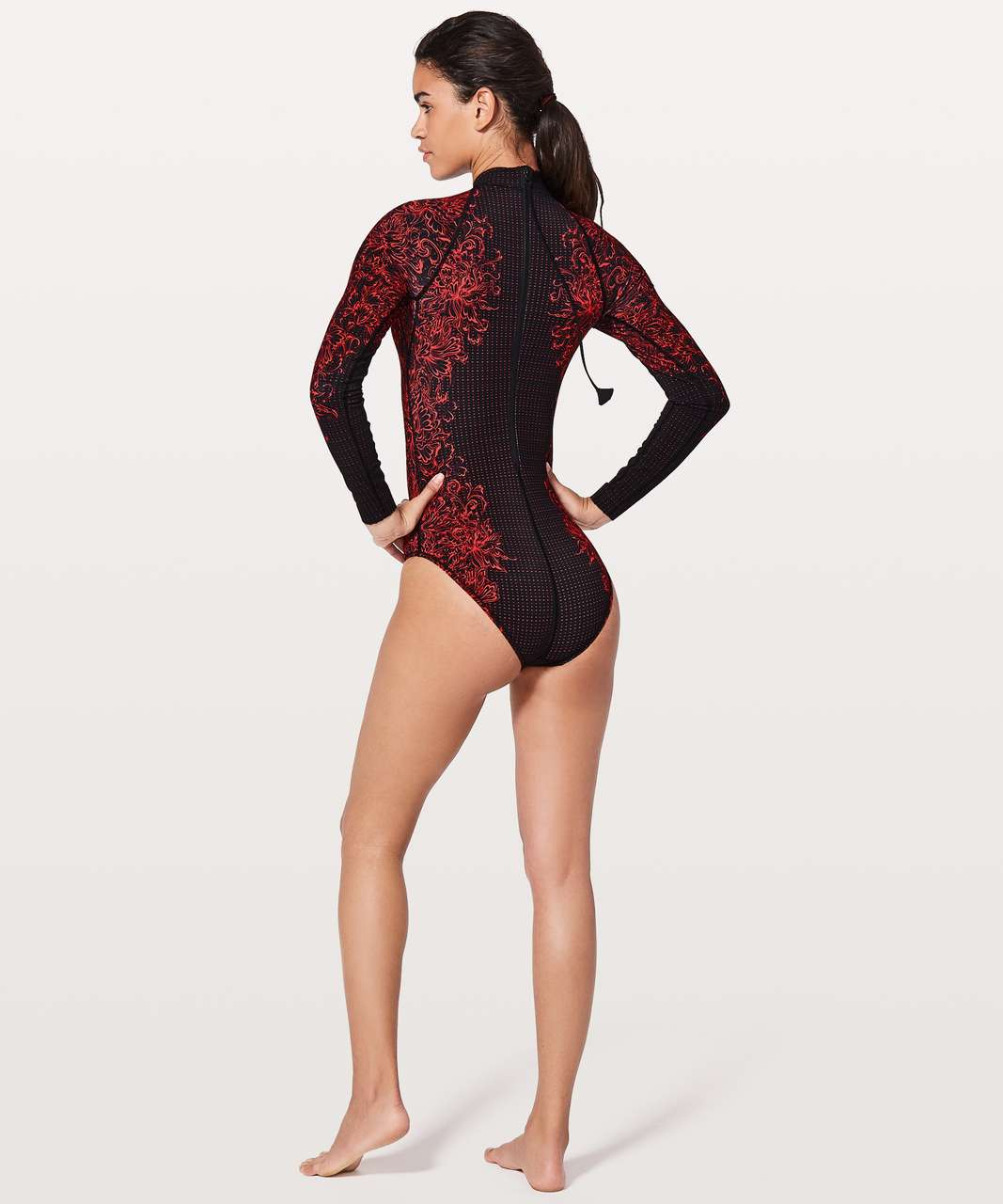 Lululemon Will The Wave Long Sleeve One Piece - Infinity LS Swimsuit Glossy Black
