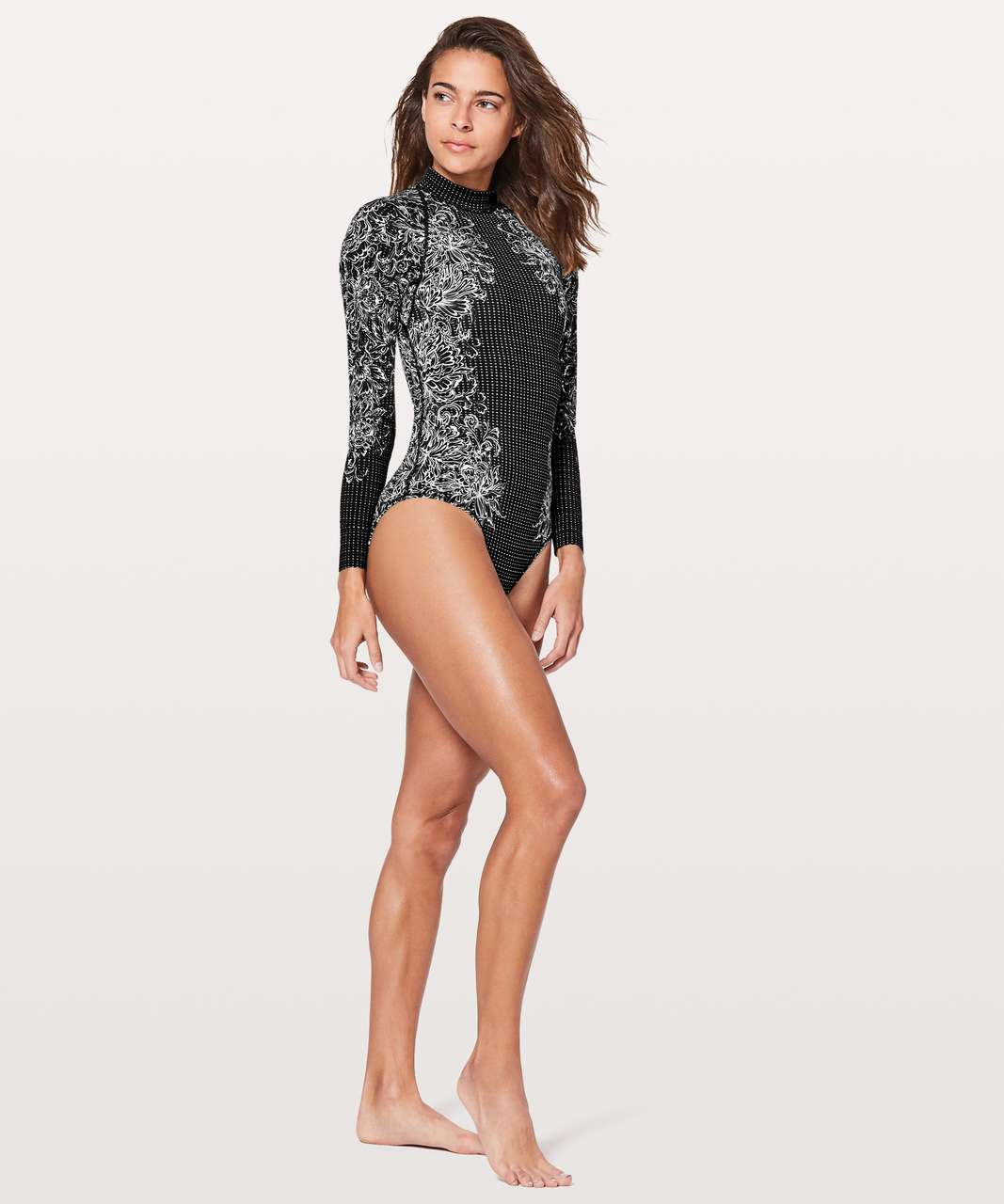 Lululemon Will The Wave Long Sleeve One Piece - Infinity LS Swimsuit Alpine White Black