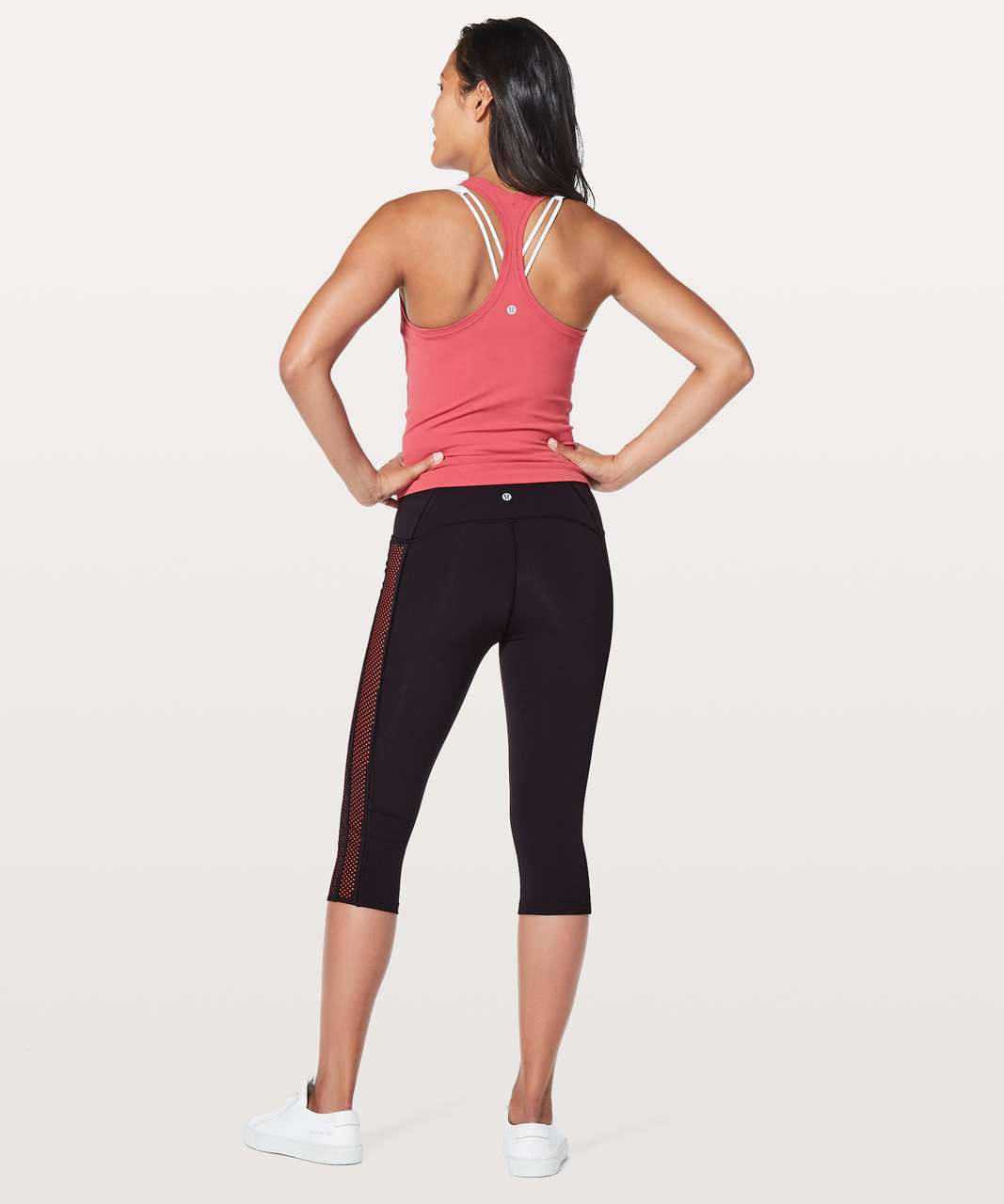 "Lululemon Get Your Peek On Crop *17"" - Deep Phantom / Red Orange"