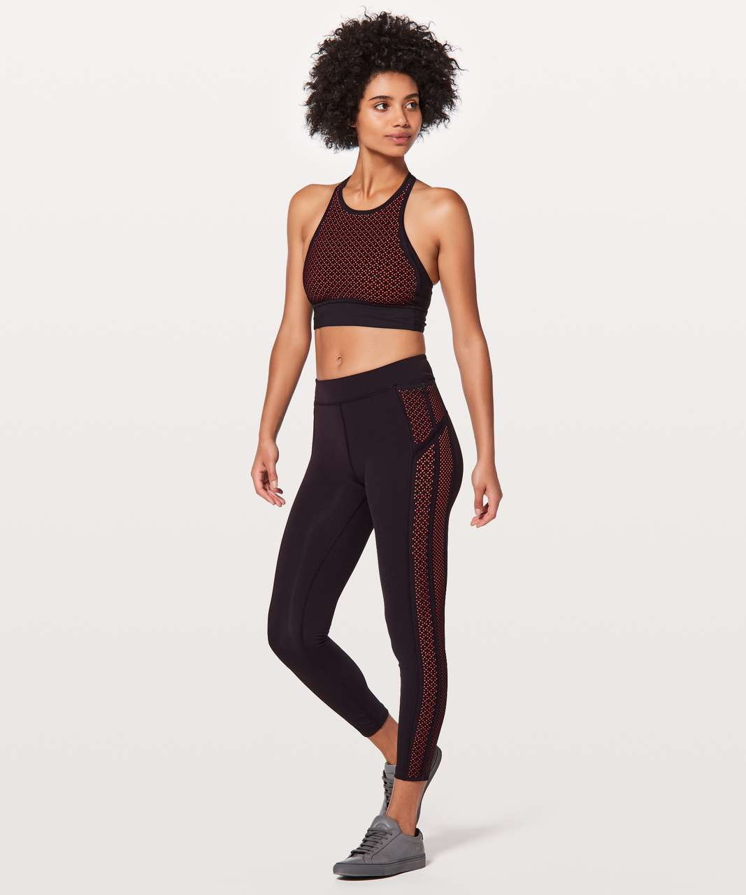"Lululemon Get Your Peek On Tight *28"" - Deep Phantom / Red Orange"