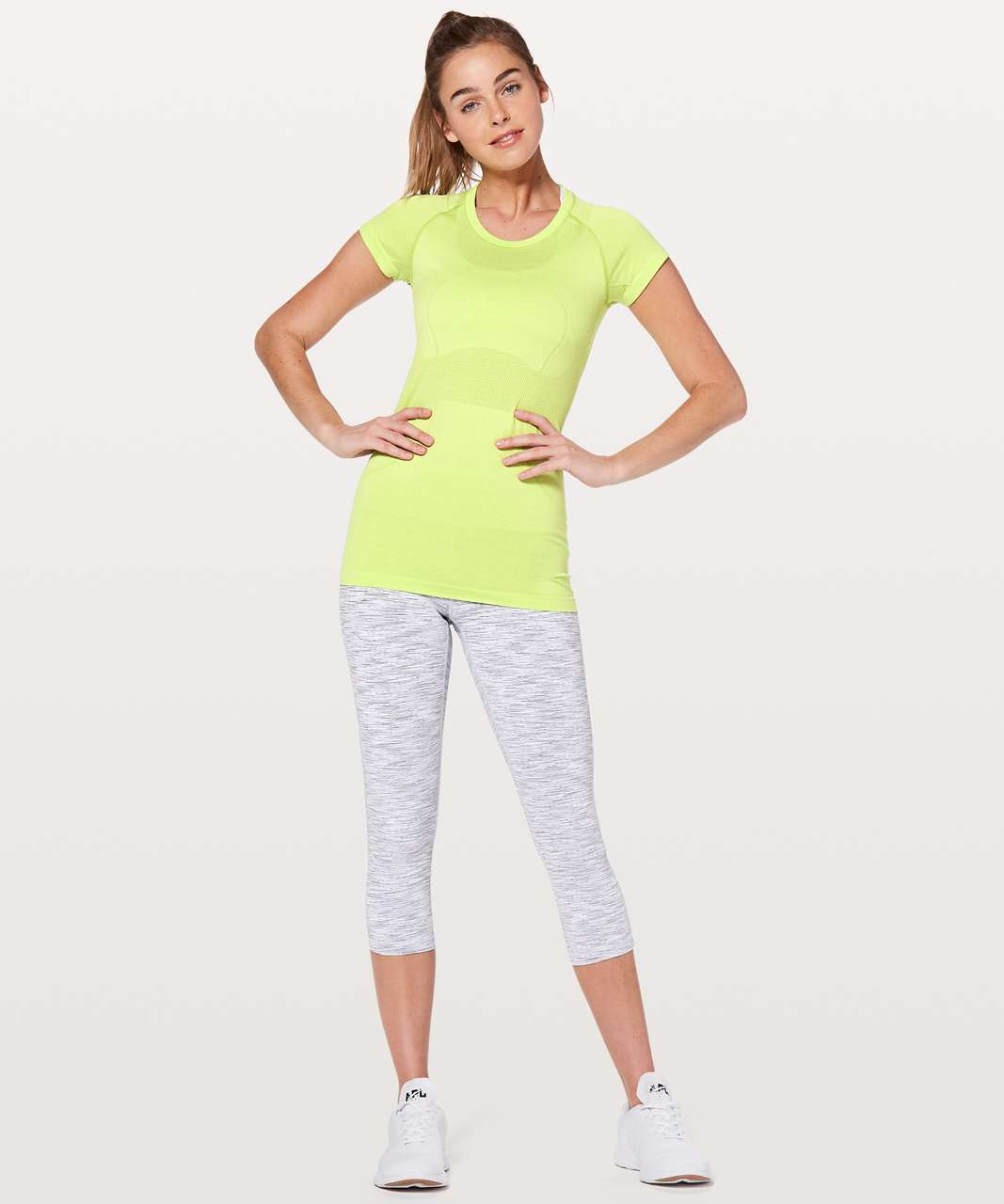 Lululemon Swiftly Tech Short Sleeve Crew - Lucid Lime / White