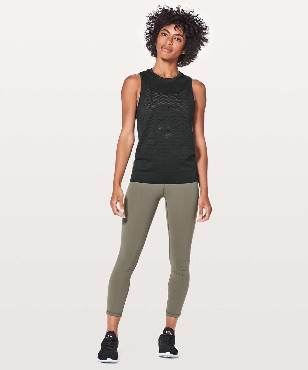 Lululemon Breeze By Muscle Tank II - Black / Black
