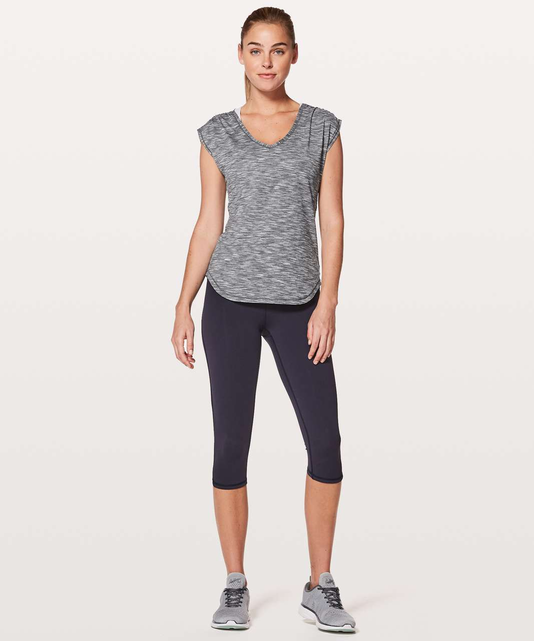 Lululemon Sweat Times Short Sleeve - Tiger Space Dye Alpine White Dark Slate