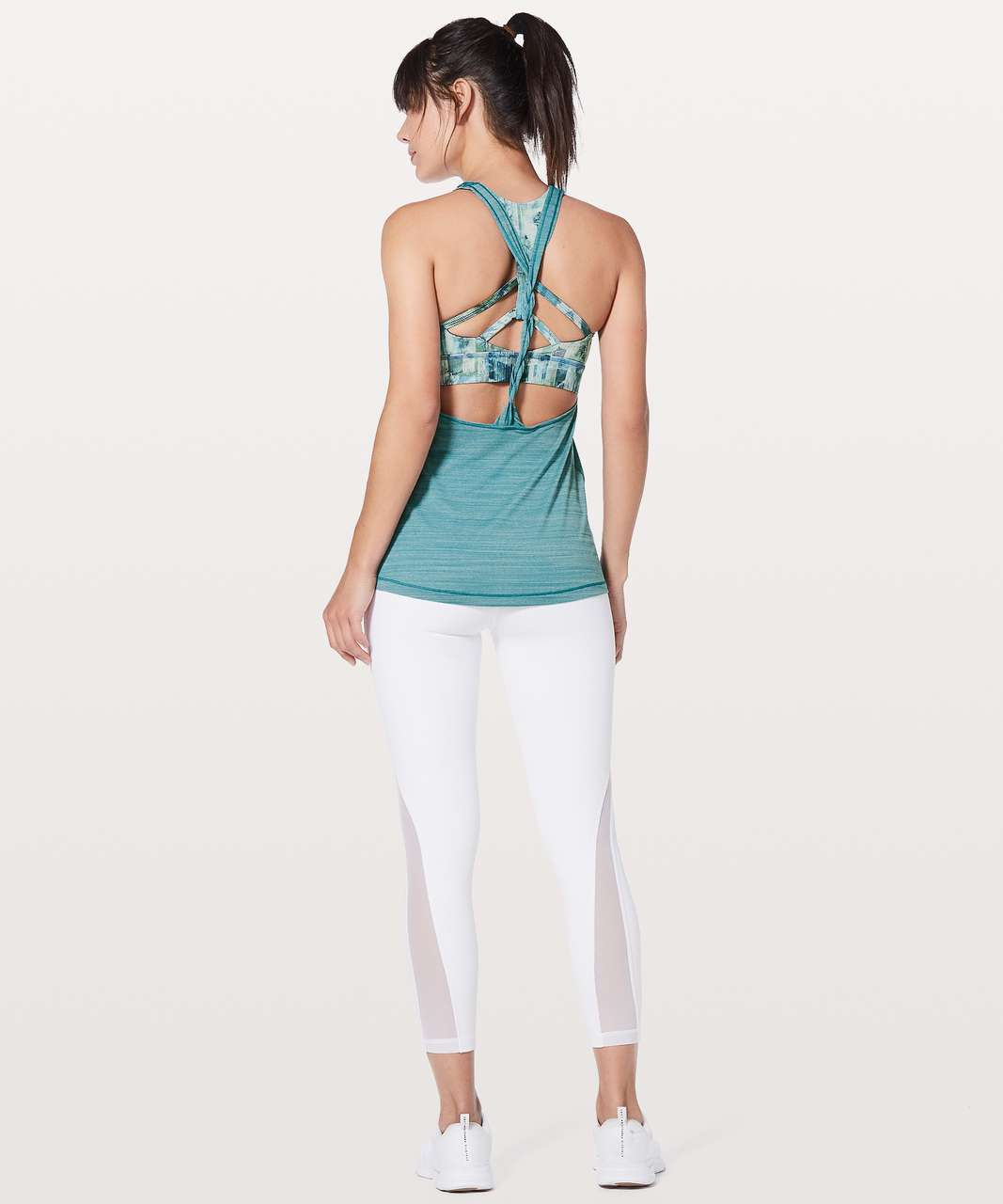 Lululemon Twist & Toil Tank - Heathered Teal Blue / Sun Dazed Multi Blue