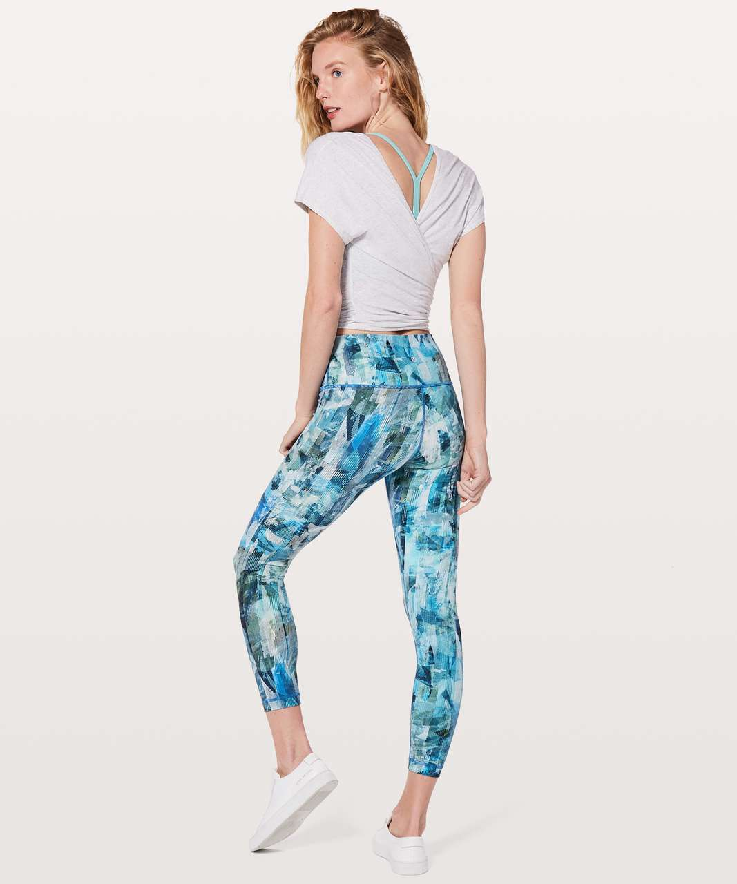 "Lululemon Wunder Under Hi-Rise 7/8 Tight 25"" - Sun Dazed Multi Blue"