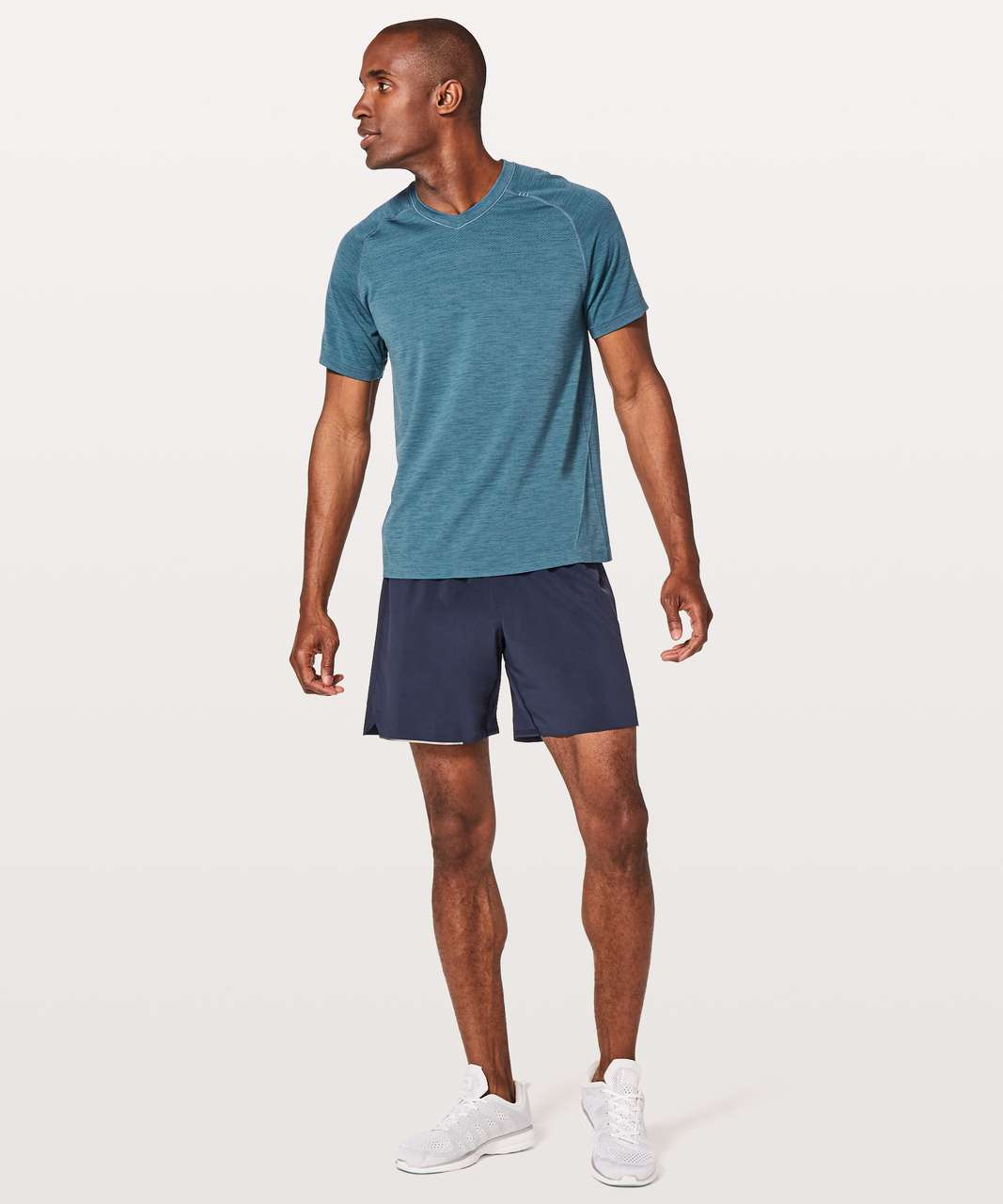Lululemon Metal Vent Tech Short Sleeve V - Poseidon / Hawk Blue