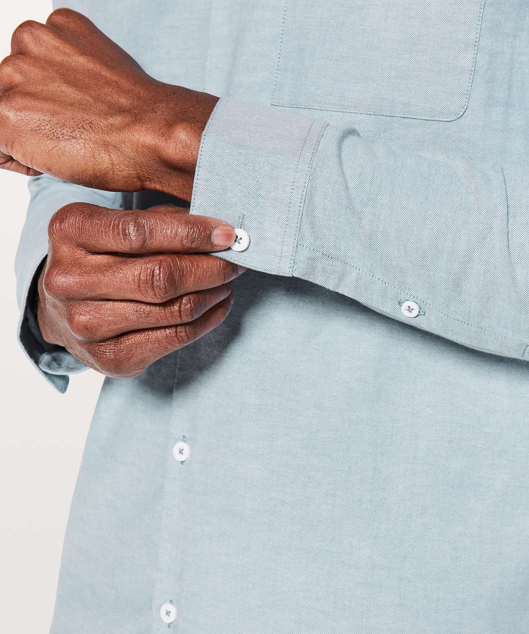 Lululemon All Town Buttondown - Pewter Blue / White