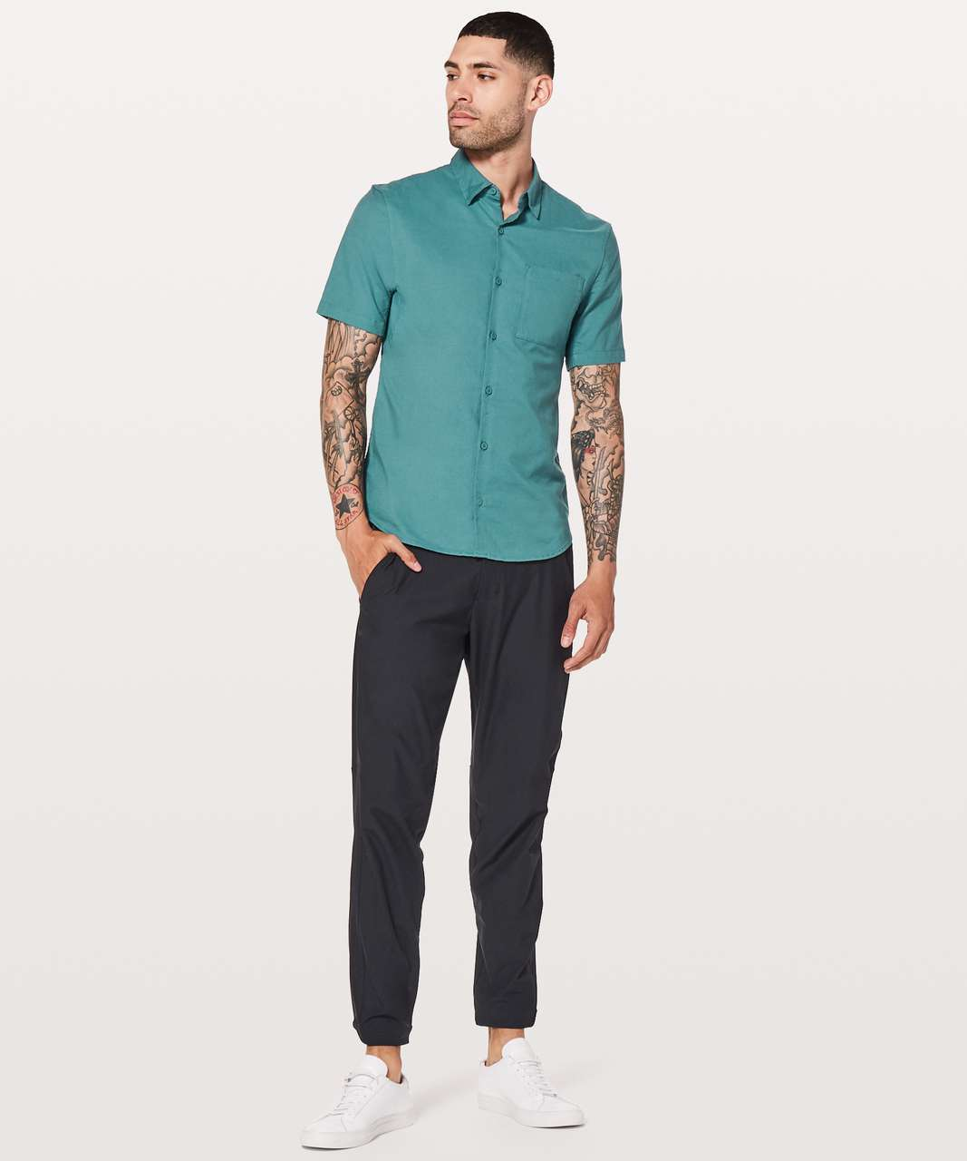 Lululemon All Town Short Sleeve Buttondown - Mystic Green / Deep Cove