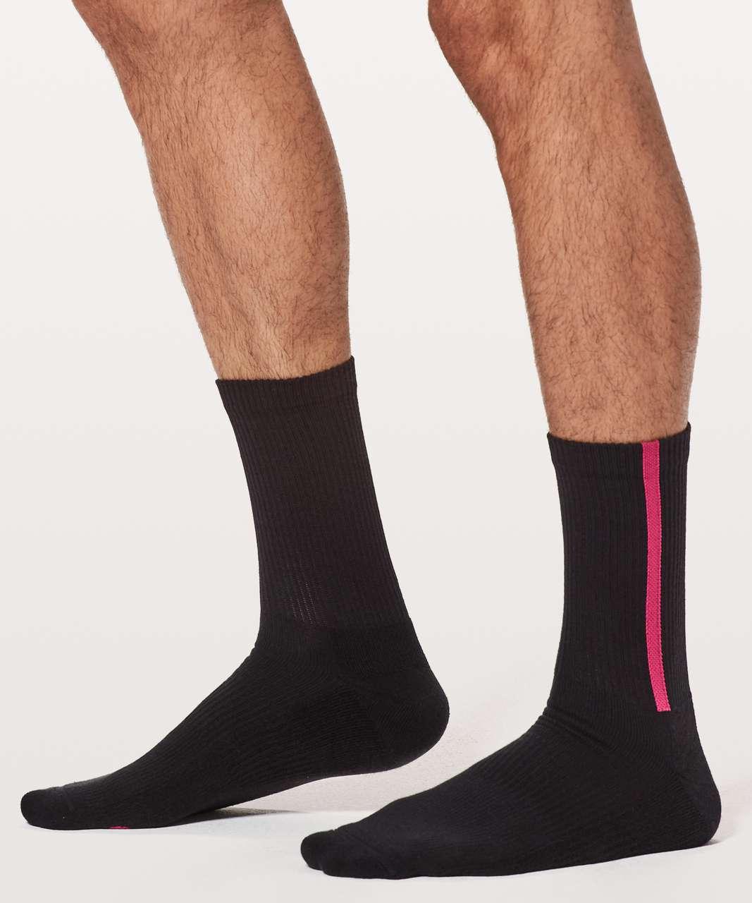 Lululemon Intent Crew Sock - Black / Violet Red