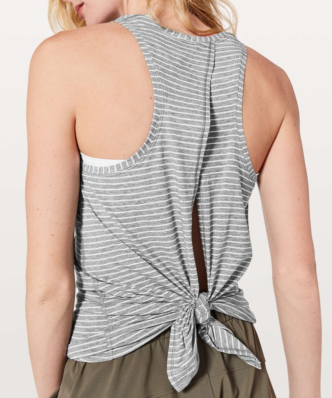 Lululemon All Tied Up Tank - Modern Stripe Heathered Medium Grey White