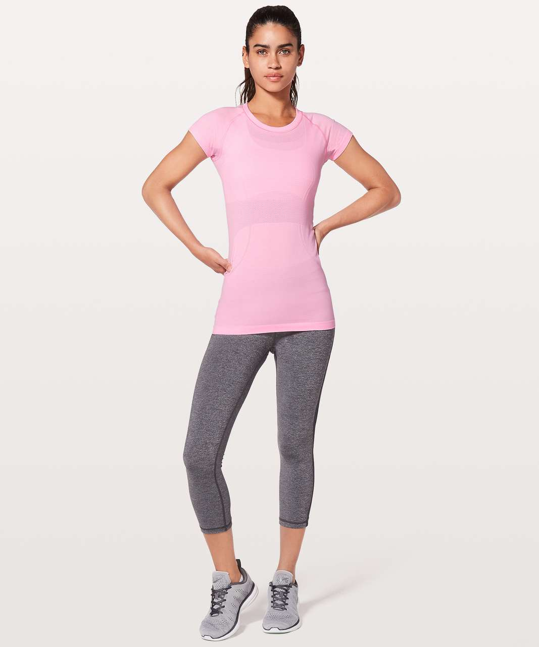 Lululemon Swiftly Tech Short Sleeve Crew - Miami Pink / White