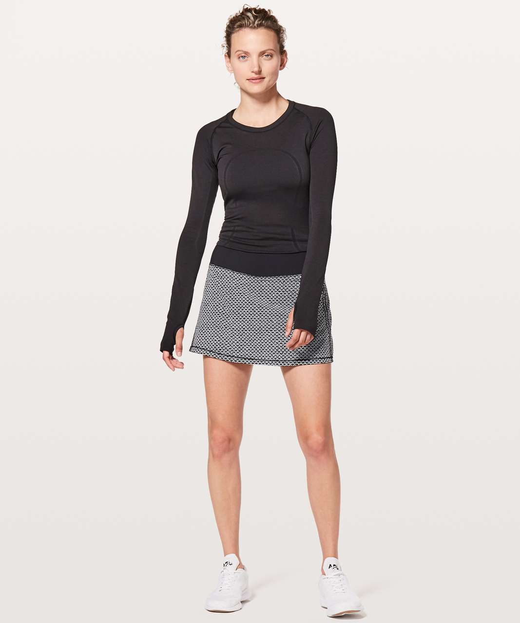 Lululemon Pace Rival Skirt (Tall) *No Panels - Monochromic Black / Black