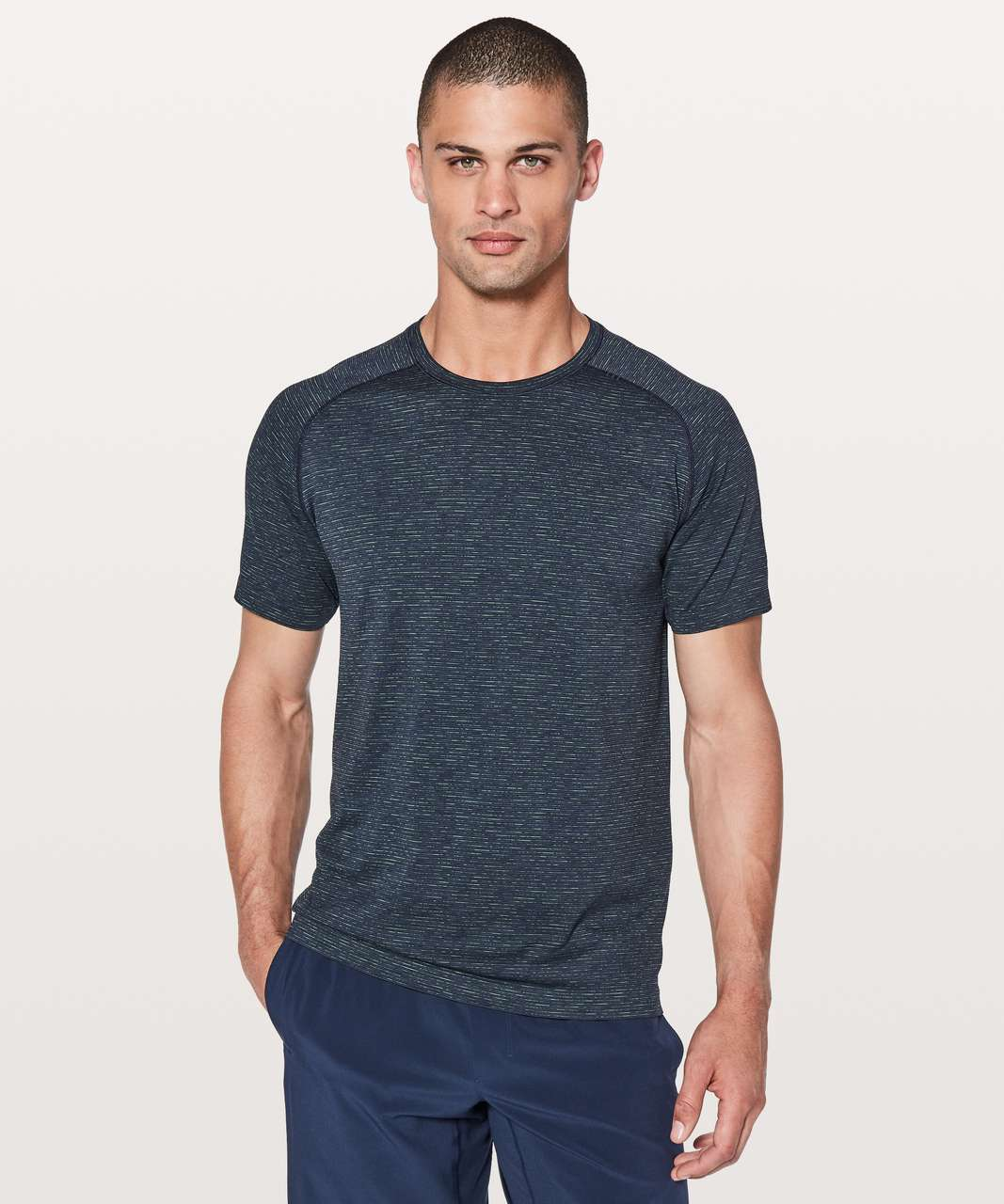 Lululemon Metal Vent Tech Short Sleeve - Nautical Navy / Lime / Dark Blue / Black