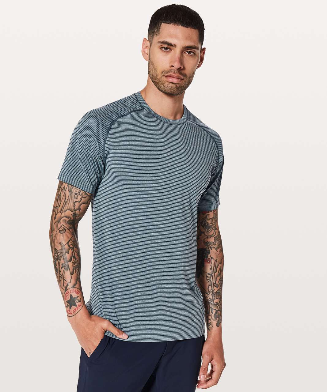 Lululemon Metal Vent Tech Short Sleeve - Mach Blue / White