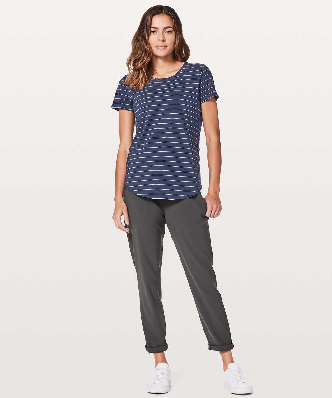 Lululemon Love Crew III - Short Serve Stripe Heathered Hero Blue White