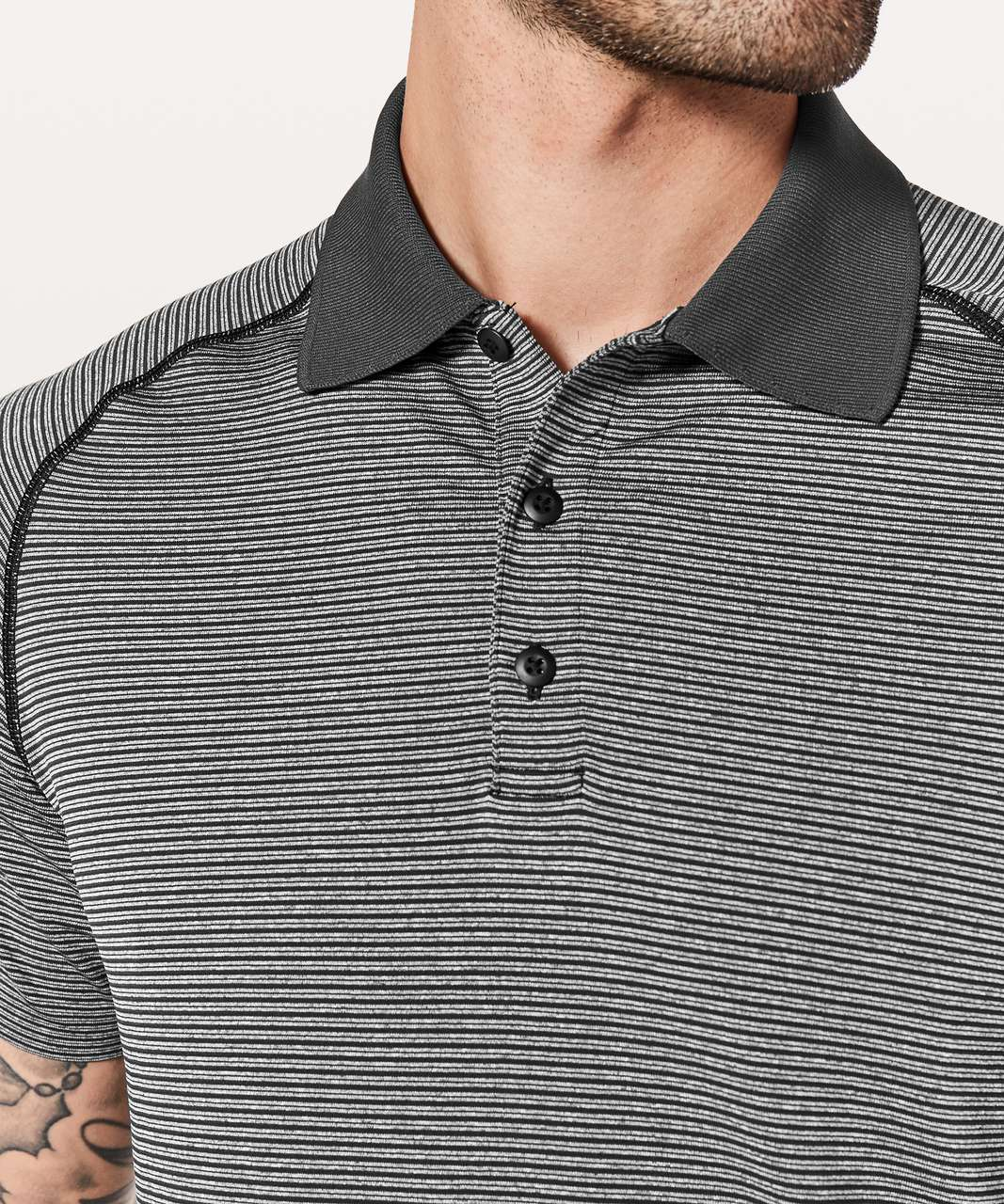 Lululemon Metal Vent Tech Polo - Black / White (Striped)