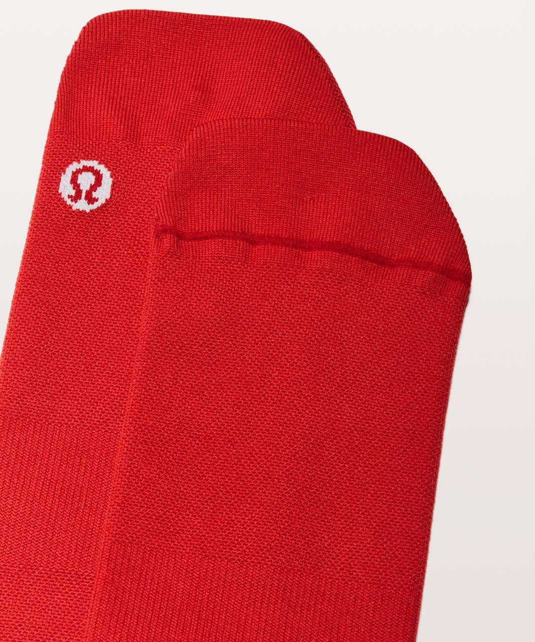 Lululemon Surge Sock *Silver - Bold Red / Violet Red