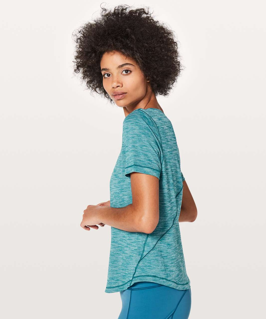 Lululemon Long Distance Short Sleeve - Heathered Pacific Teal