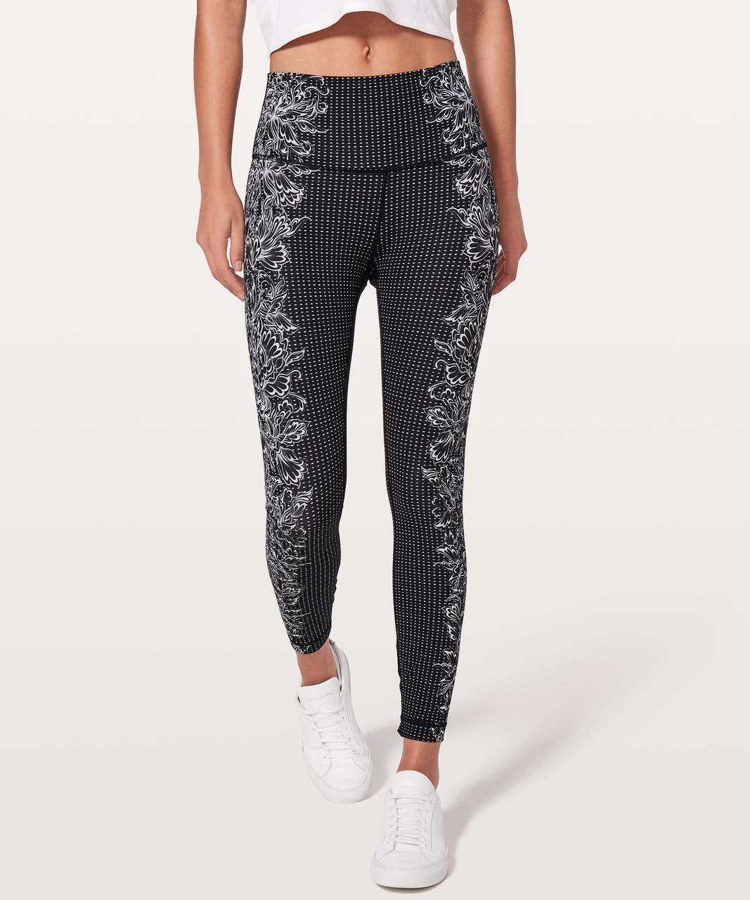"Lululemon Wunder Under Hi-Rise 7/8 Tight *Engineered Print Full-On Luxtreme 25"" - Infinity Wunder Under 25"" Alpine White Black"