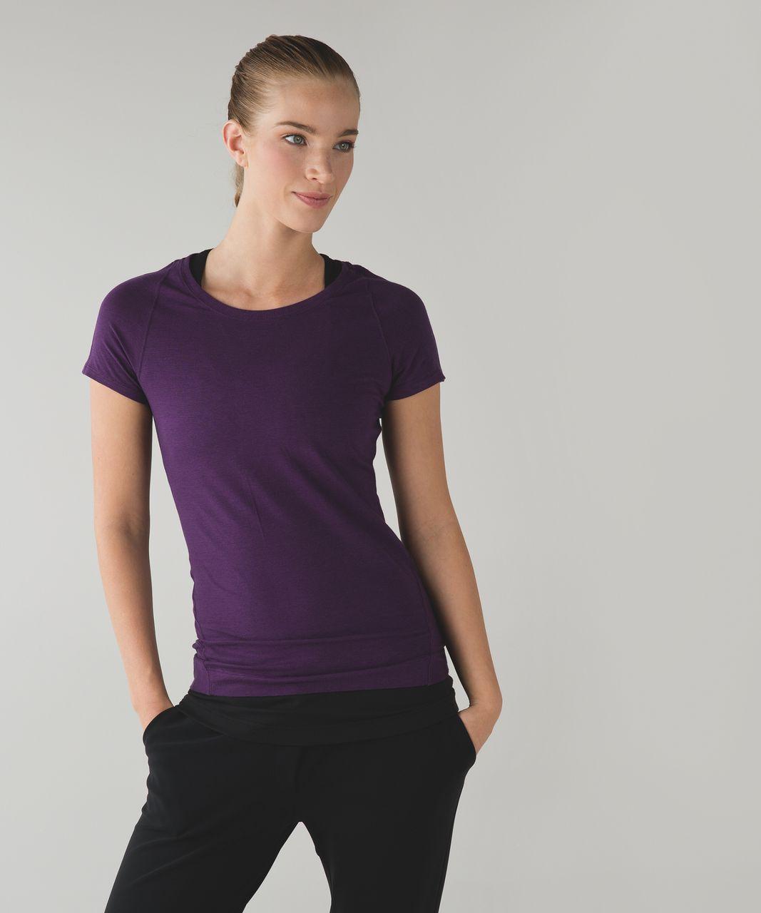 Lululemon Let Be Short Sleeve Tee - Wee Stripe Tender Violet Black