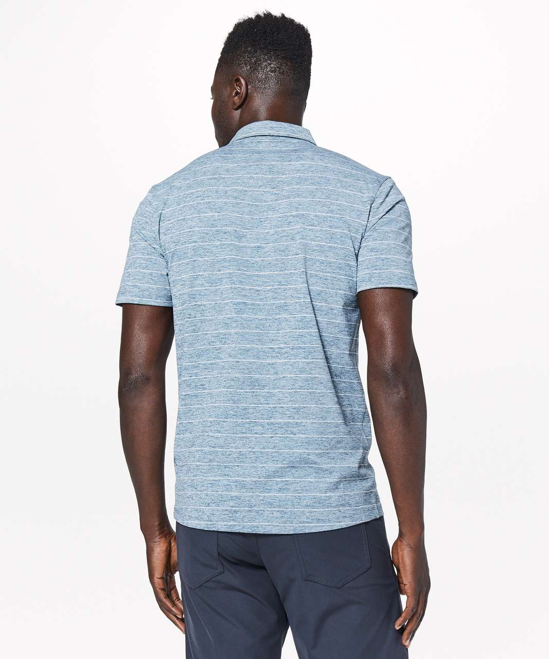 Lululemon Propel Polo - Short Serve Stripe Heathered Alberta Lake White
