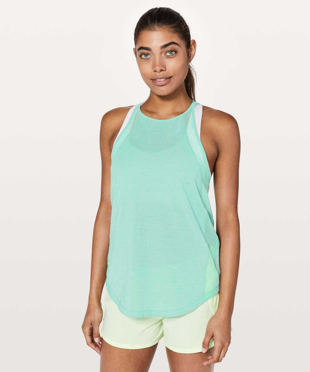Lululemon Run Off-Route Tank - Heathered Washed Marsh / Washed Marsh