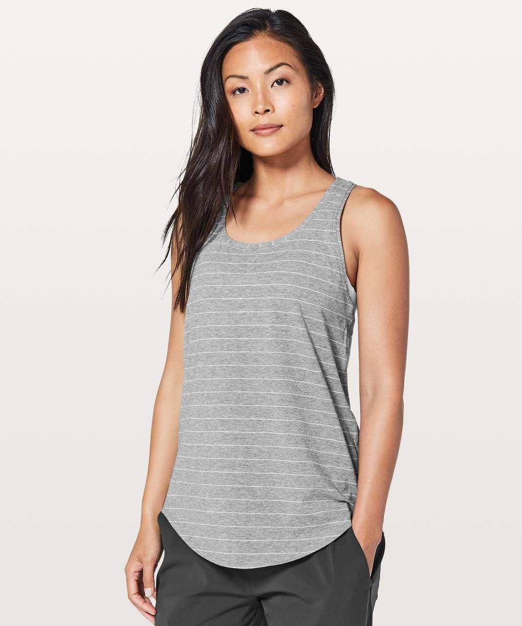 Lululemon Love Tank *Pleated - Short Serve Stripe Heathered Medium Grey White