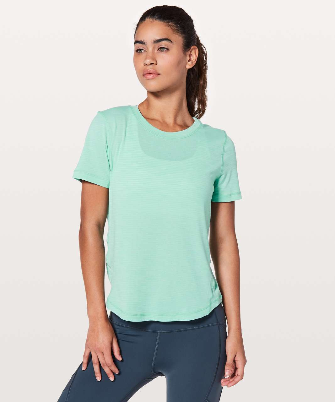 Lululemon Long Distance Short Sleeve - Heathered Washed Marsh