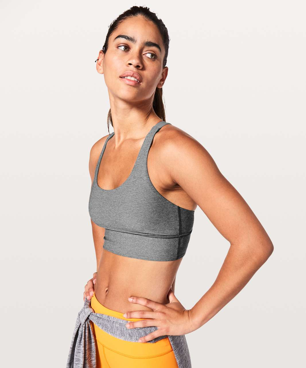 Lululemon Energy Bra *Long Line - Heathered Slate / Vivid Amber