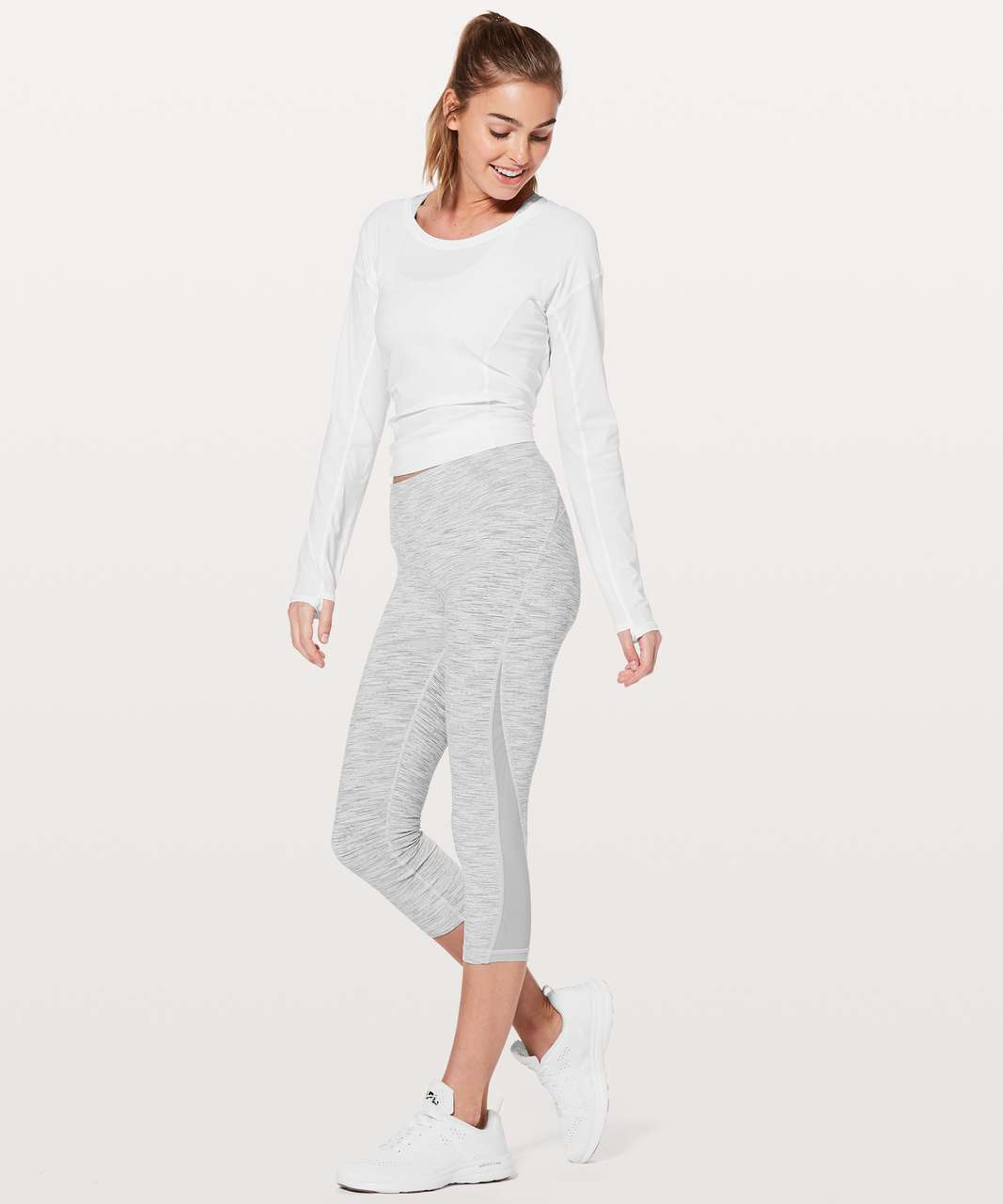 "Lululemon Train Times Crop *21"" - Wee Are From Space Ice Grey Alpine White"