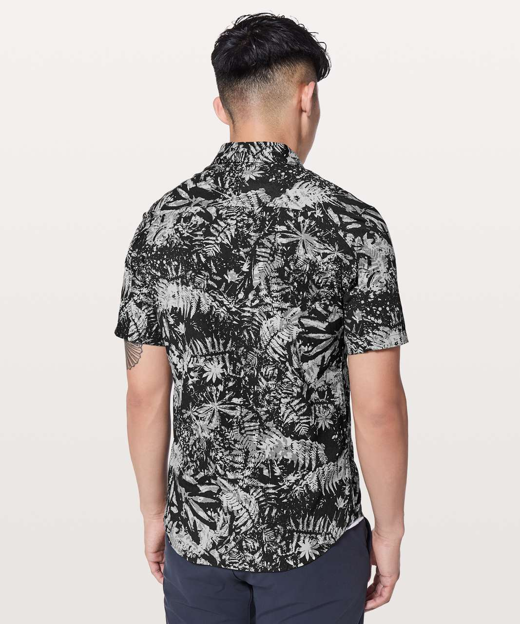 Lululemon All Town Short Sleeve Buttondown - Canopy Ice Grey Black
