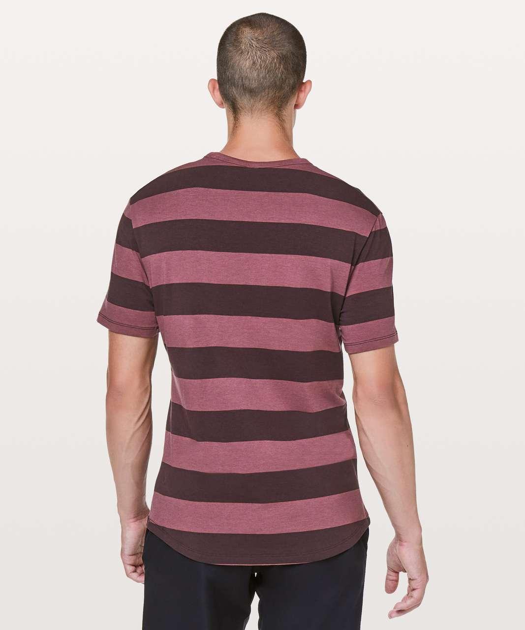 Lululemon 5 Year Basic Tee *Updated Fit - Wide Bold Stripe Smoky Red Black Plum