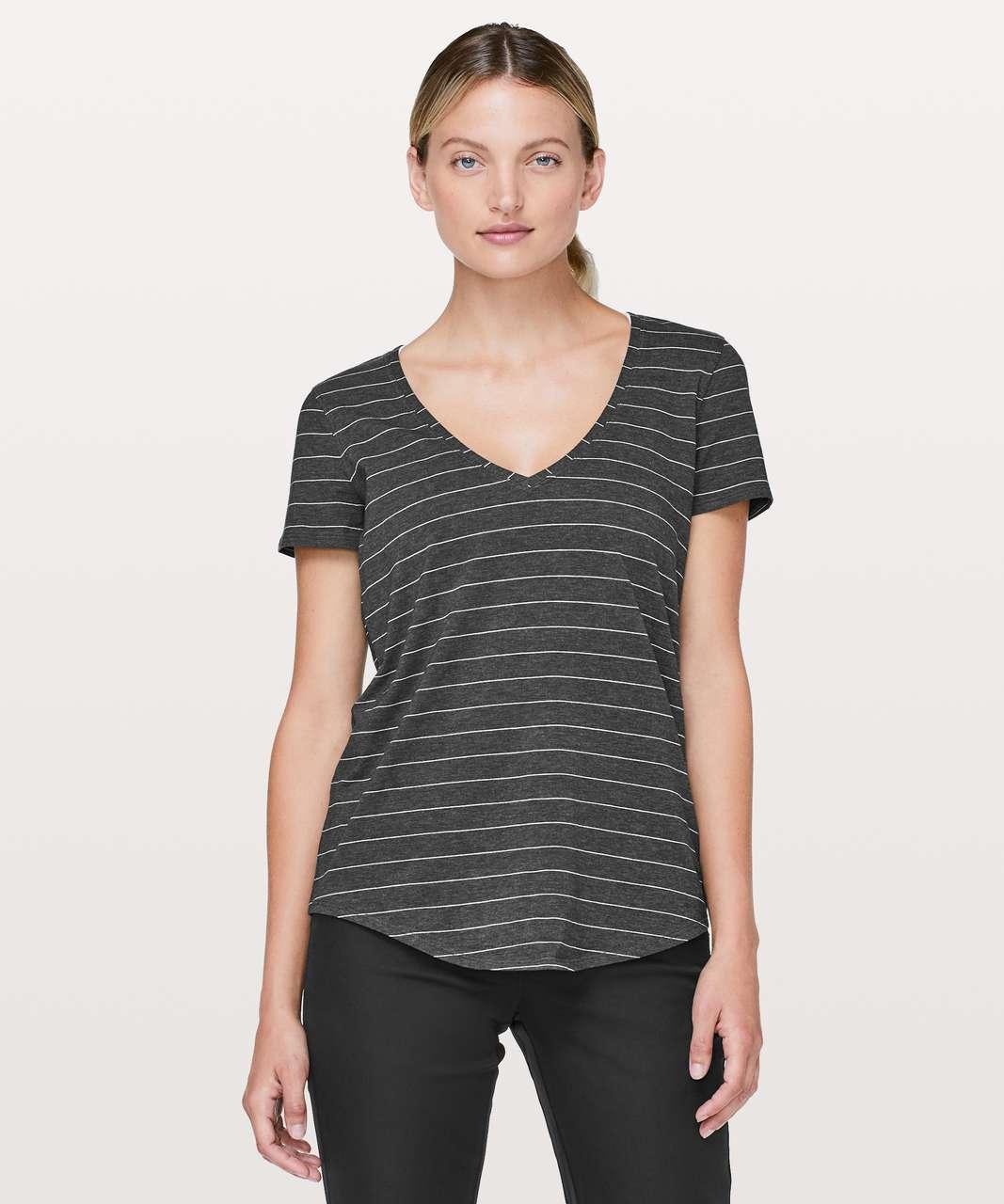 Lululemon Love Tee V - Short Serve Stripe Heathered Black White